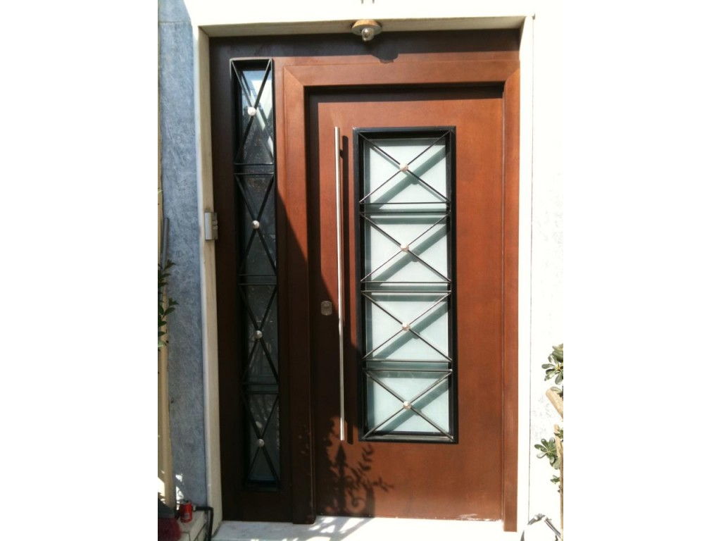 Καλλιθέα πόρτα ασφαλείας είσοδος πολυκατοικίας με σταθερό και άνοιγμα για τζάμι Δείτε έργα μας