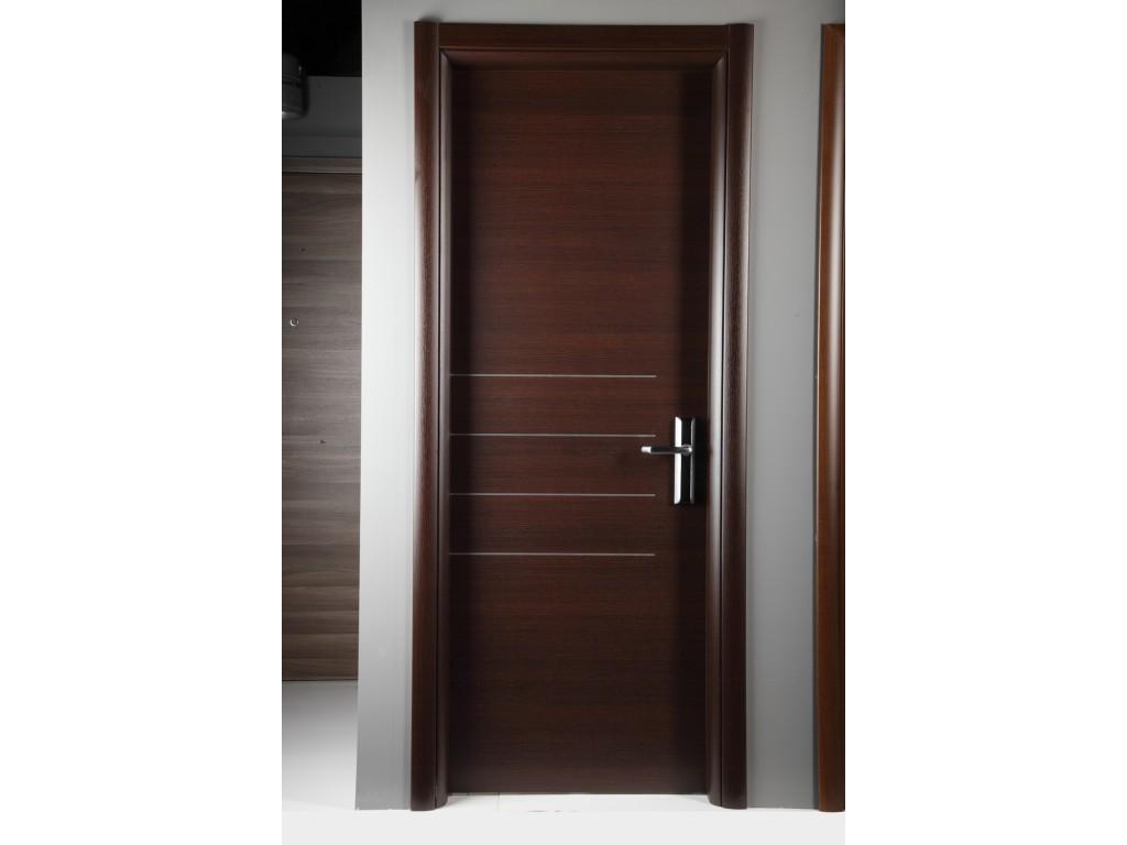 Laminate εσωτερική πόρτα σε χρώμα Wenge με σχέδιο Ινοξ Laminate